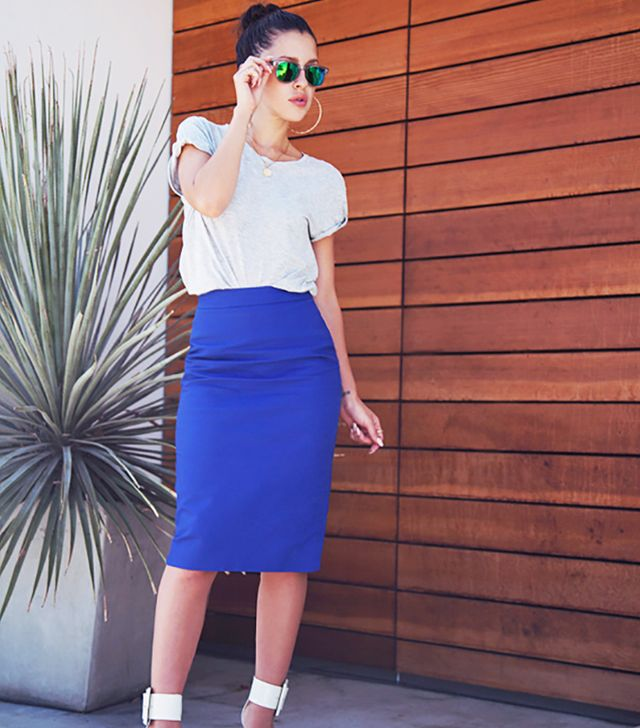 If you're an Hourglass (curvy, with a well-defined waist) you look fantastic in pencil skirts.