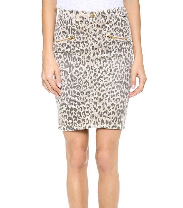 Pencil skirts usually conjure images of office outfits, but this leopard denim version is perfect for the weekend.