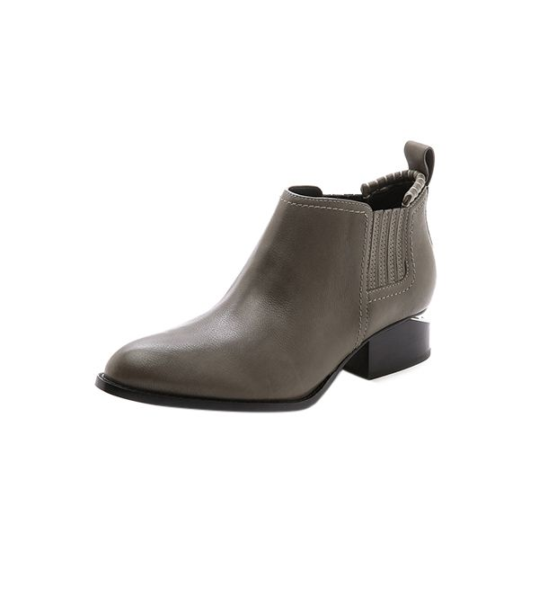Alexander Wang Kori Ankle Booties with Rhodium Hardware ($495) in Gunpowder  How cool is this metal-plated heel? Very.