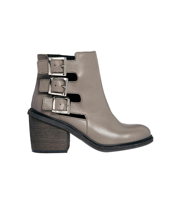ASOS Electric Avenue Leather Cut Out Ankle Boots ($141) in Gray