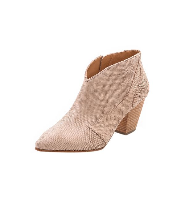 Belle by Sigerson Morrison Yoko Booties ($295) in Light Pink  We love the low-cut style and the textured suede.