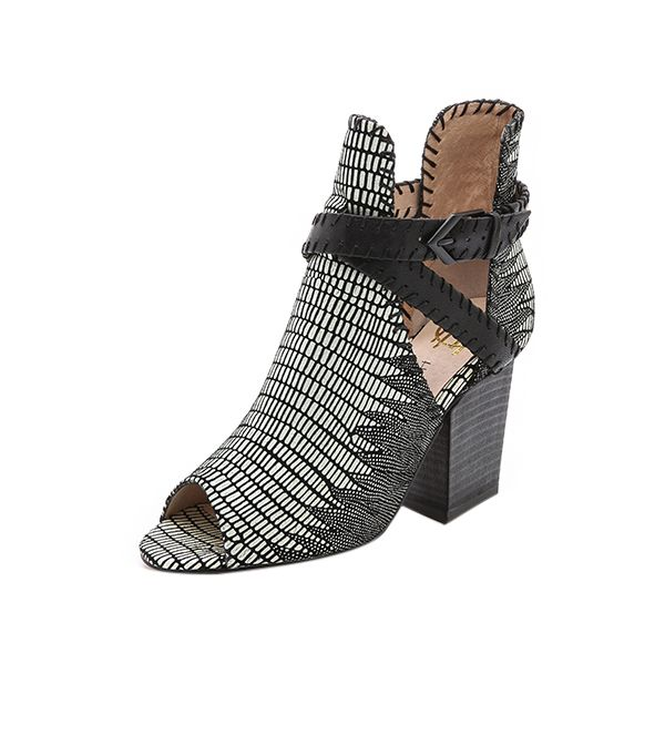 House of Harlow 1960 Open Toe Booties ($225) in Black/White  A peep-toe printed boot with the perfect amount of bohemian flair.