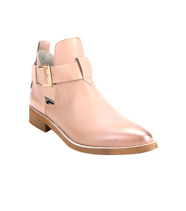 Miista Ona Cutout Pointy-Toed Ankle Boots ($250) in Pink  Rose gold buckles? Yes, please!