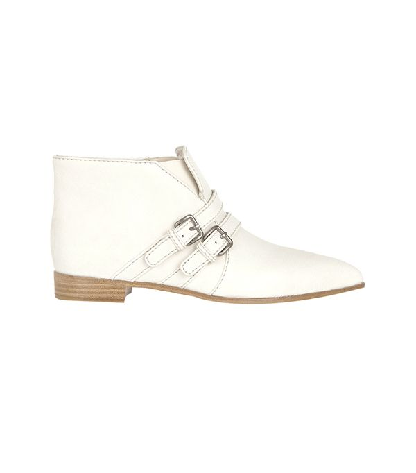 Miu Miu Double-Strap Leather Ankle Boots ($790) in Off-White  Wear these off-white ankle boots with a pair of slouchy boyfriend jeans for a laidback-meets-chic look.