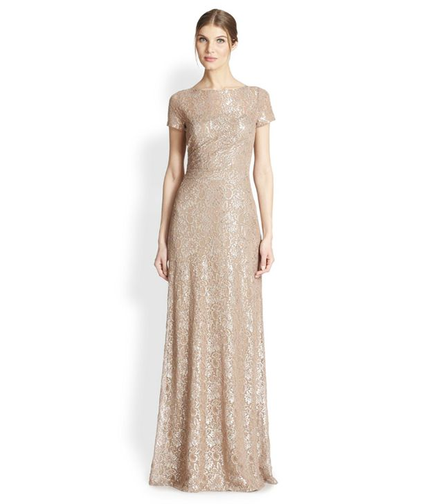 David Meister Metallic Lace Gown ($588)