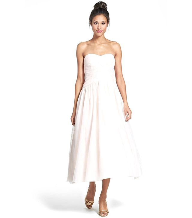ML Monique Lhuillier Tulle Tea-Length Dress ($498) in Blush