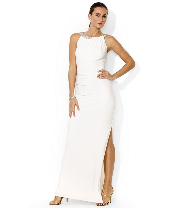 Lauren Ralph Lauren Sleeveless Beaded Gown ($210) in White