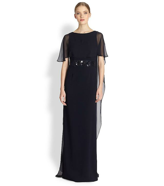 Teri Jon Belted Chiffon Cape Gown ($680)