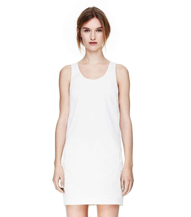 Theory Cut Away Dress in Fine Twill ($335) in Eggshell