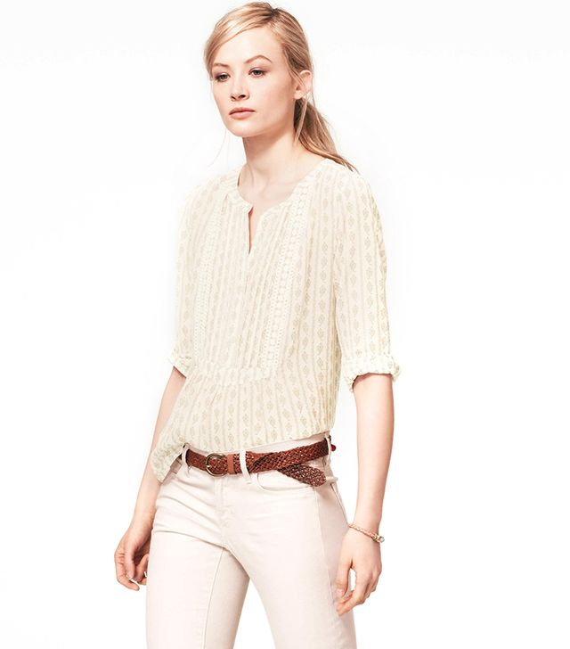 Loft Crochet Trim Leaf Blouse ($60) in Jasmine