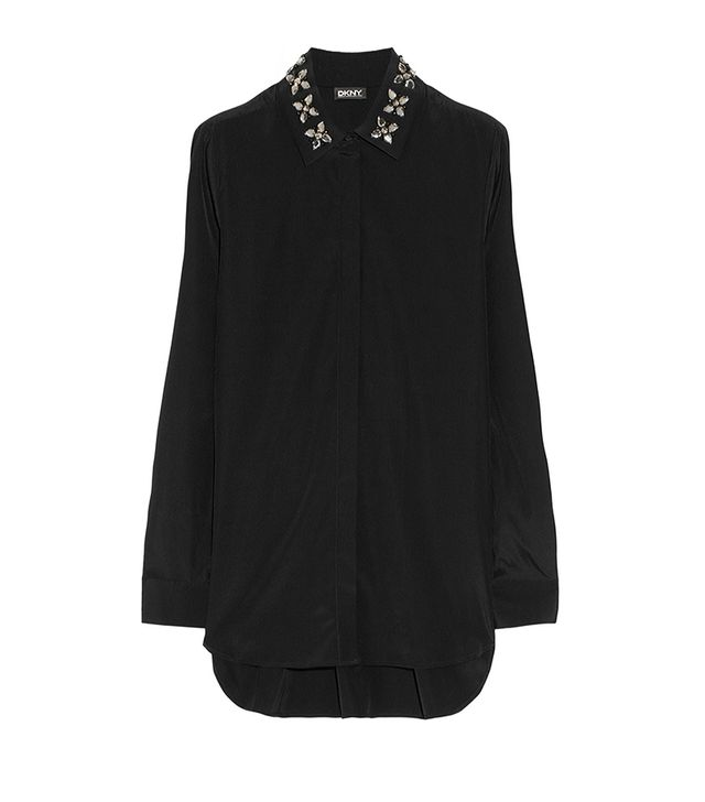 DKNY Embellished-Collar Silk-Blend Blouse ($335)
