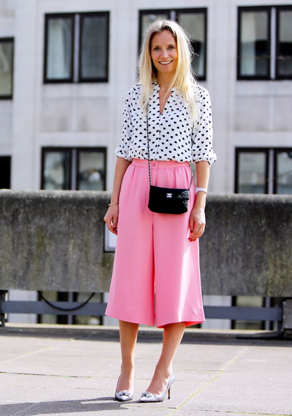 Now we have to try a pair of bright culotte trousers!