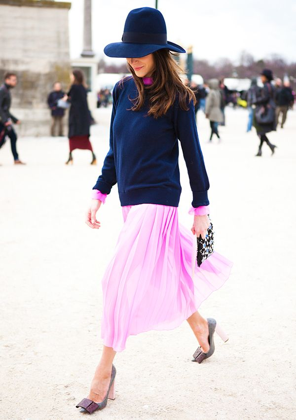 Navy and pink might be our new favorite color combo.  Get The Look: Rag & Bone Basic Brando Tee Shirt ($80) in Navy; ASOS Pleated Midi Skirt ($66) in Pink    Image via Candice...