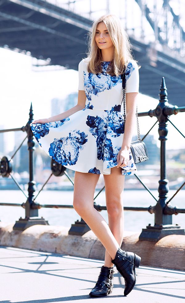 For a daytime look, style your floral dress with sleek ankle boots and minimal jewelry.