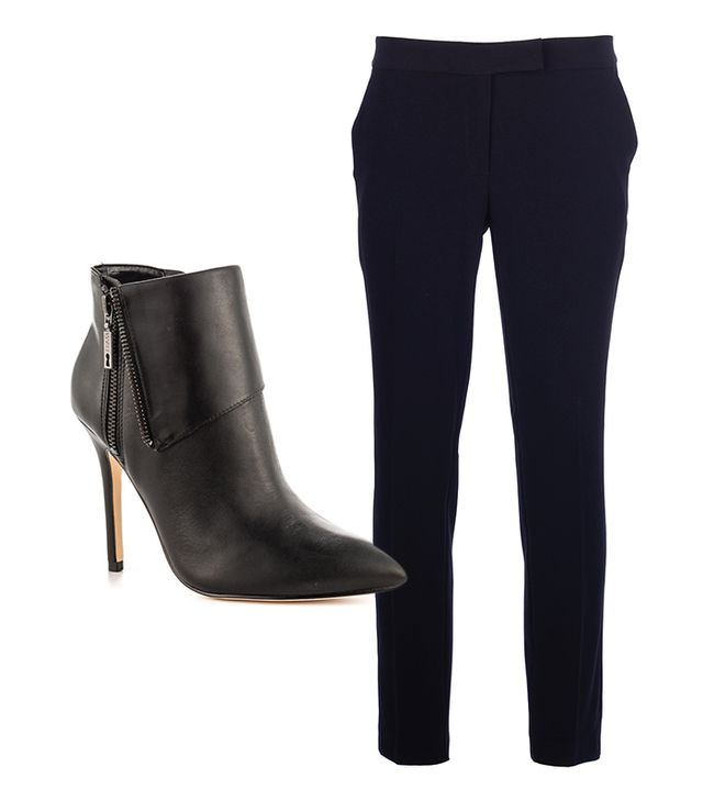 Ivanka Trump Mina Stiletto Booties ($111); Moschino Cheap & Chic Straight Leg Trousers ($165).