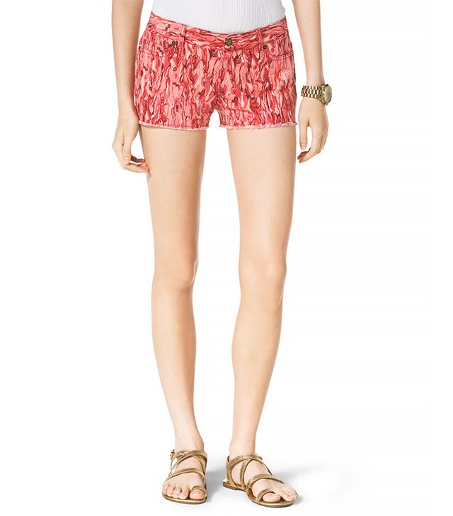 Printed Denim Shorts 