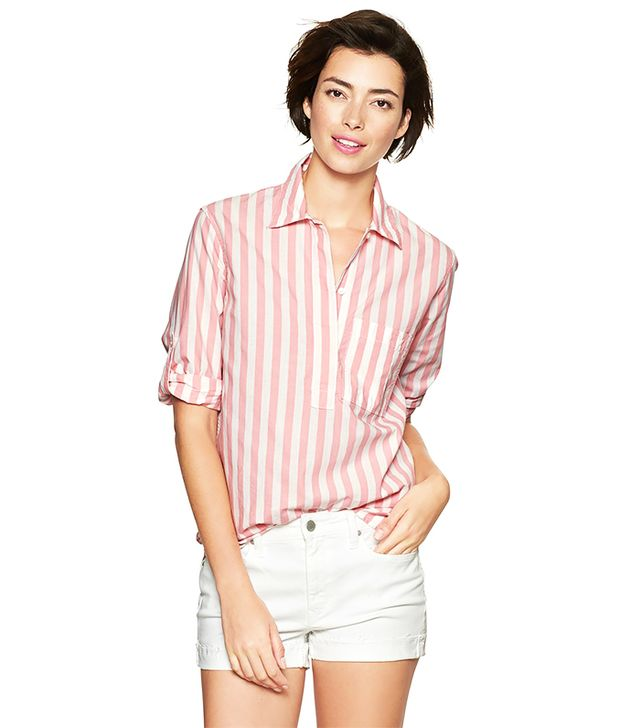 Gap Stripe Roll-Sleeve Shirt ($39) in Pink Stripe