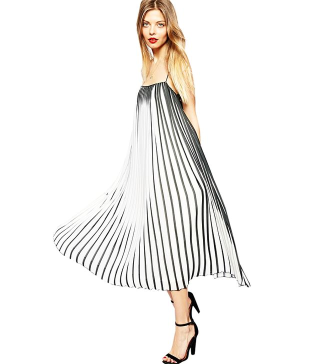 ASOS Swing Dress In Pleated Stripe ($143) in Multi