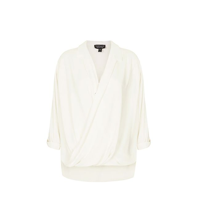Topshop Formal Drape Front Blouse ($70) in Cream
