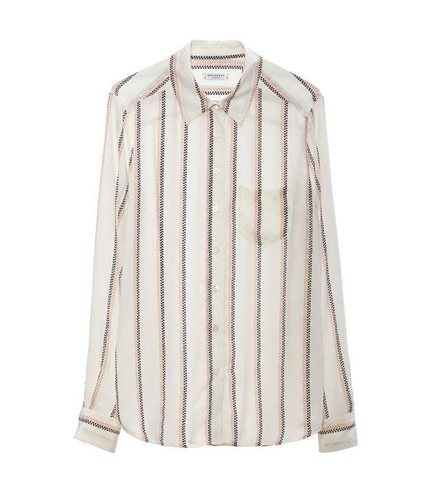 Equipment Brett Striped Shirt ($258)  The thin, two-tone stripes on this shirt give it a crisp and clean appeal.