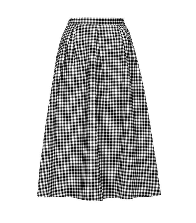 Topshop Gingham Calf Midi Skirt ($96)