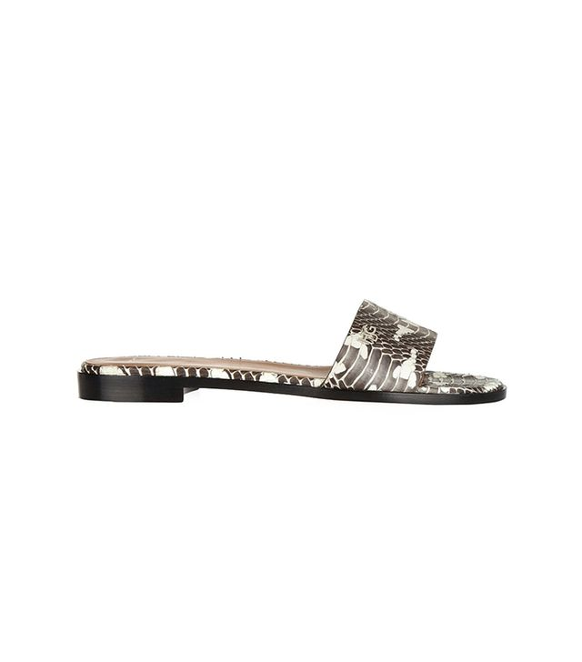 Givenchy Snake Slip-On Sandals ($595)  No words.