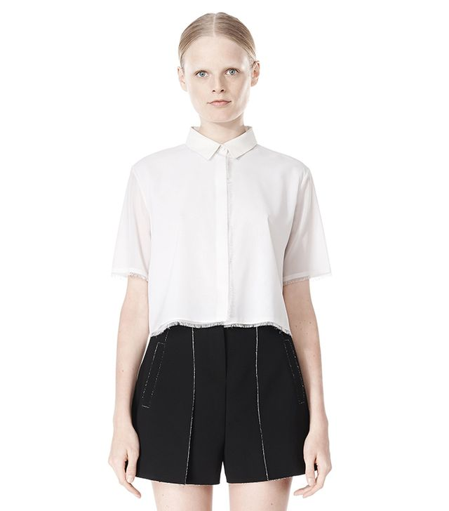 Alexander Wang Frayed Silk Chiffon Short Sleeve Shirt ($325)