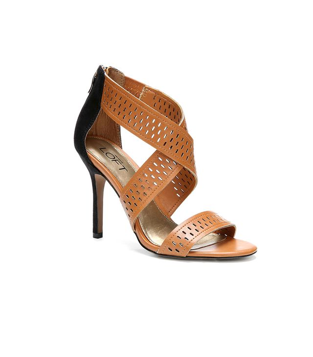 LOFT Analise Perforated Cross Strap Heels ($85) in Brown