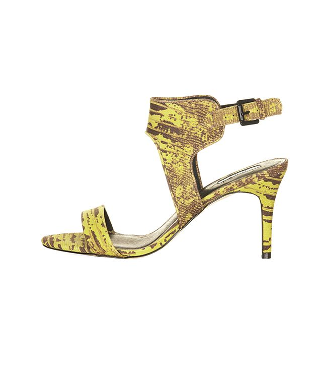 Topshop Naked Back Buckle Mid Shoes ($70) in Green