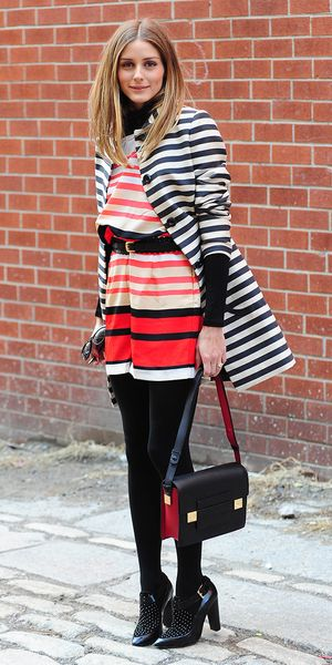 Olivia Palermo's Risky Mixed Stripes Pays Off