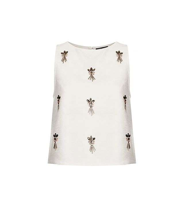Topshop Cluster Embellished Shell Top ($72)