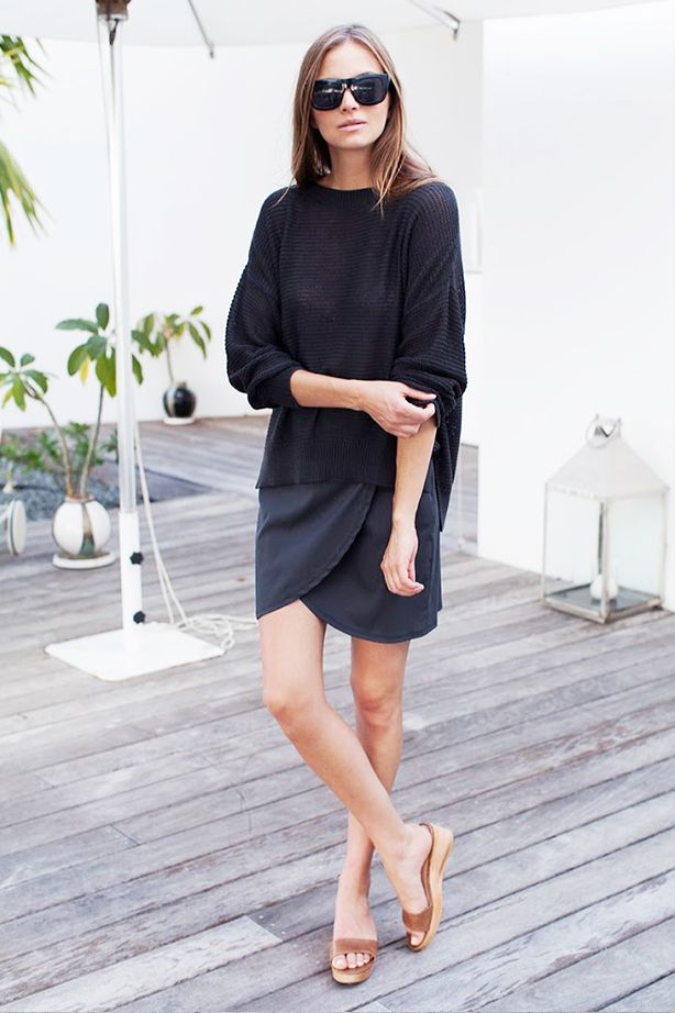 Black Sweater + Loose Dress