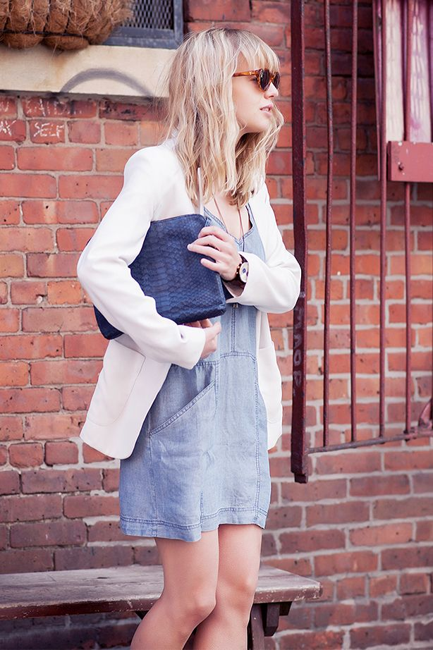 Oversized Blazer + Denim Dress