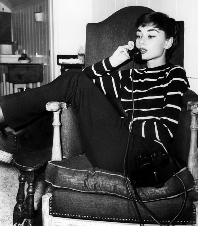 1. Striped Shirt You already know the preppy stripe is a classic, but how effortless does it look on Hepburn?