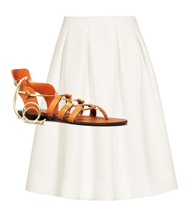 Get The Look:  Reiss Newton Pleated Full Midi Skirt ($230) Enzo Angiolini Myani Flat Gladiator Sandals ($79)
