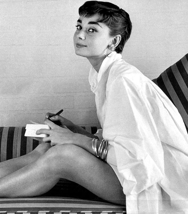 6. Button-Down Shirt  ​We're sizing up for a borrowed-from-the-boys look like Hepburn.