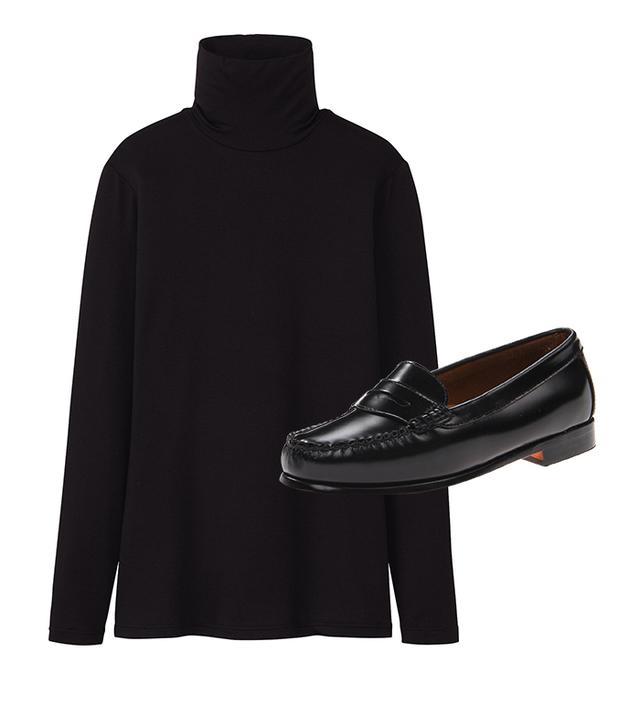 Get The Look:  Uniqlo Heattech Turtle Neck Long Sleeve T-Shirt ($15) Bass Wayfarer Penny Loafers ($67)
