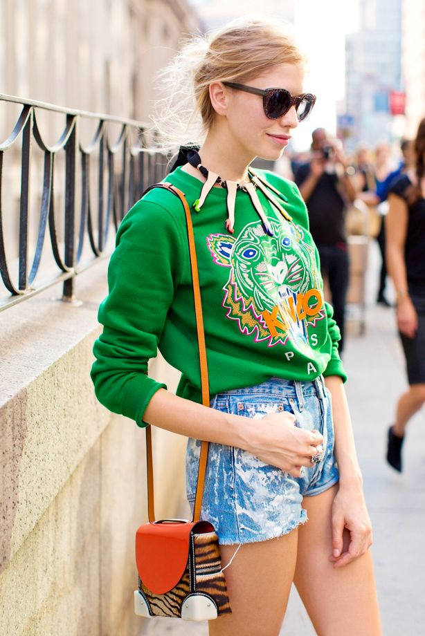 Acid-Wash Jean Shorts + Graphic Sweatshirt