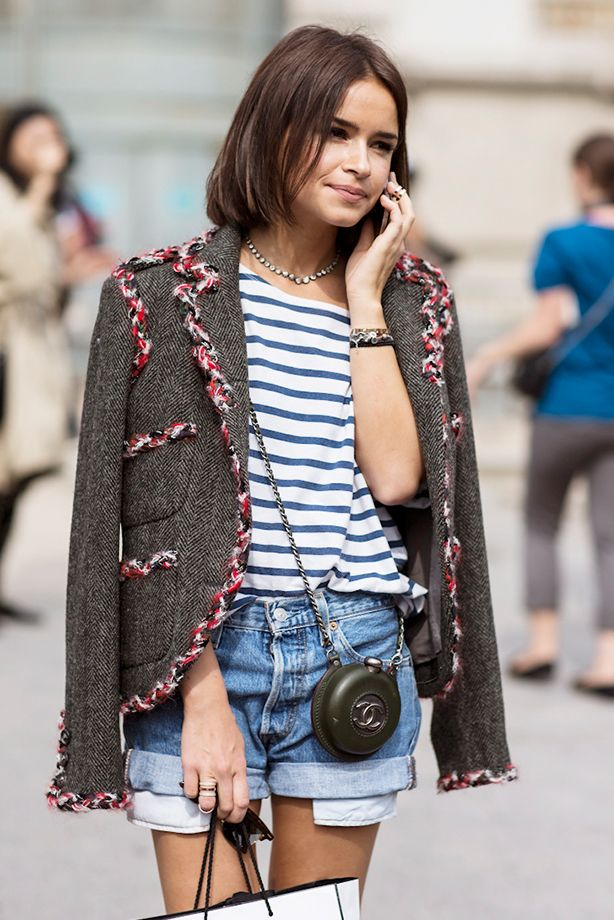 Cuffed Denim Shorts + Striped T-Shirt