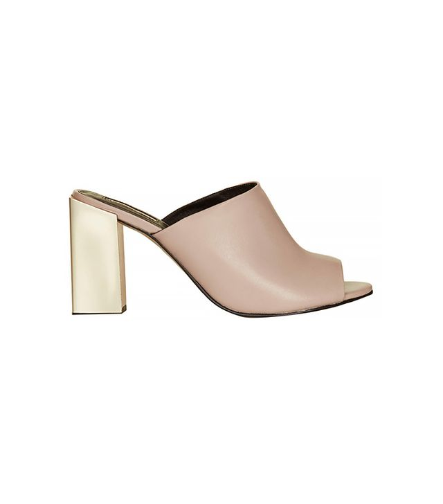 Topshop Revolver Metal Heel Mules ($110) in Nude