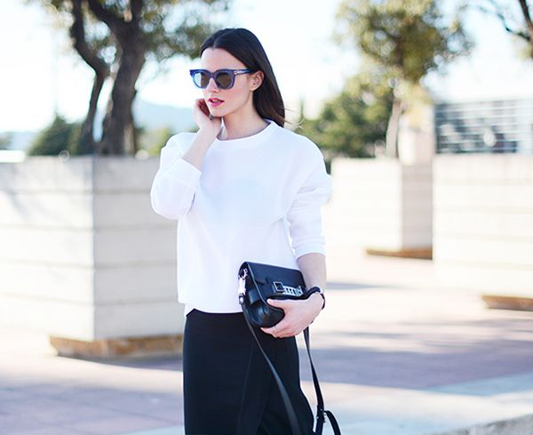 We love a boxy top styled with a sleek pencil skirt for the office—so chic.