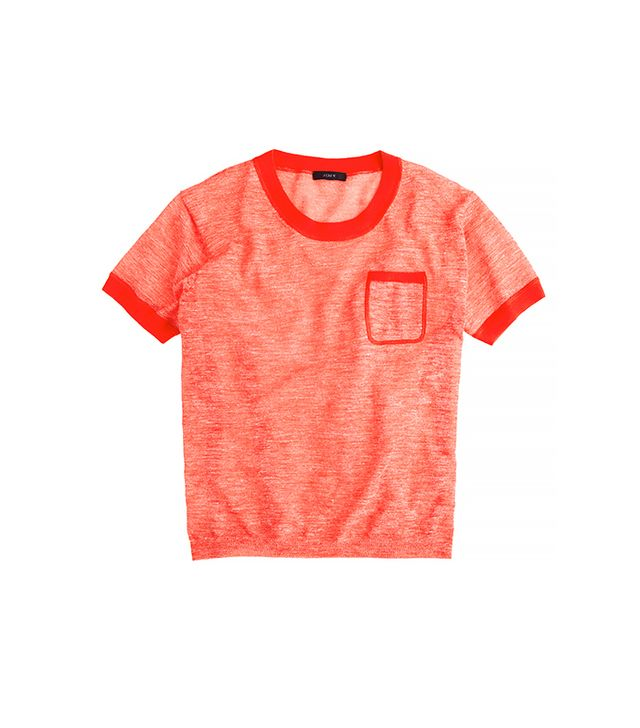 J.Crew Linen Pocket Tee ($55) in Marbled Persimmon