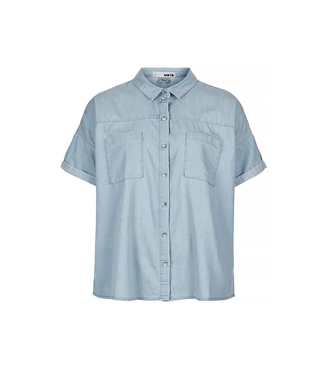 Topshop MOTO Bleach Denim Boxy Shirt ($60) in Blue