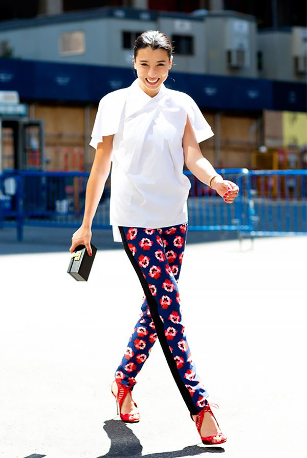 Rule 9: If you want to wear a bold piece like printed pants, balance it with polished items, like a crisp white blouse.