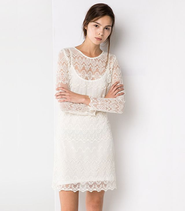 For The Bride:  Mango Guipure Dress ($100)  Long-sleeve lace is flattering and feminine. Wear this delicate mini-dress with ballet flats and a low ponytail for a subtle bridal vibe.