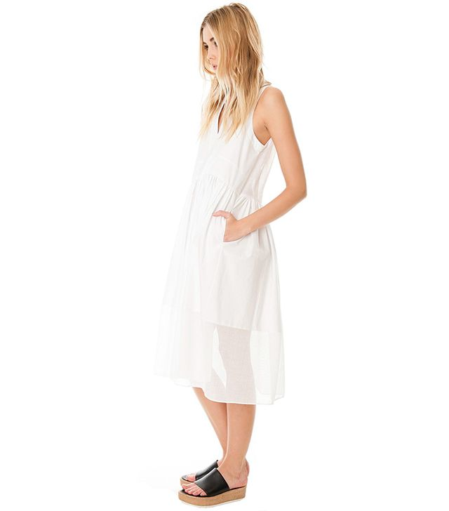 Tibi Ultra Matte Poplin Combo Dress ($398)  The mid-calf length on this sheer sundress calls for wooden wedges or platform sandals. Soft pink lipstick wouldn't hurt, either!