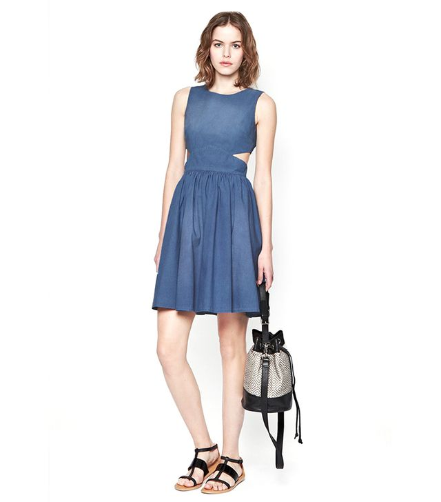 For The Girls: French Connection Blue Ash Denim Dress ($198)  Chambray in a girly dress silhouette, paired with a mini-bag and sandals is a go-to winetasting uniform.