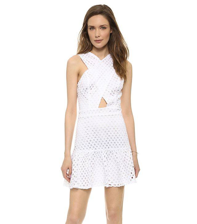 Line & Dot Crossover Neck Eyelet Dress ($121) in White  The cutout and crossover neck on this eyelet dress are perfectly placed so you show just enough skin.