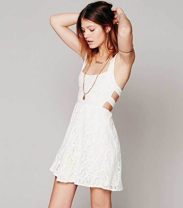 For The Bride: Free People Turn Back Time Dress ($98) in Ivory. Available here in Ballet.  This frock is perfect for the bride-to-be. The sweet lace and sultry back cover all the...
