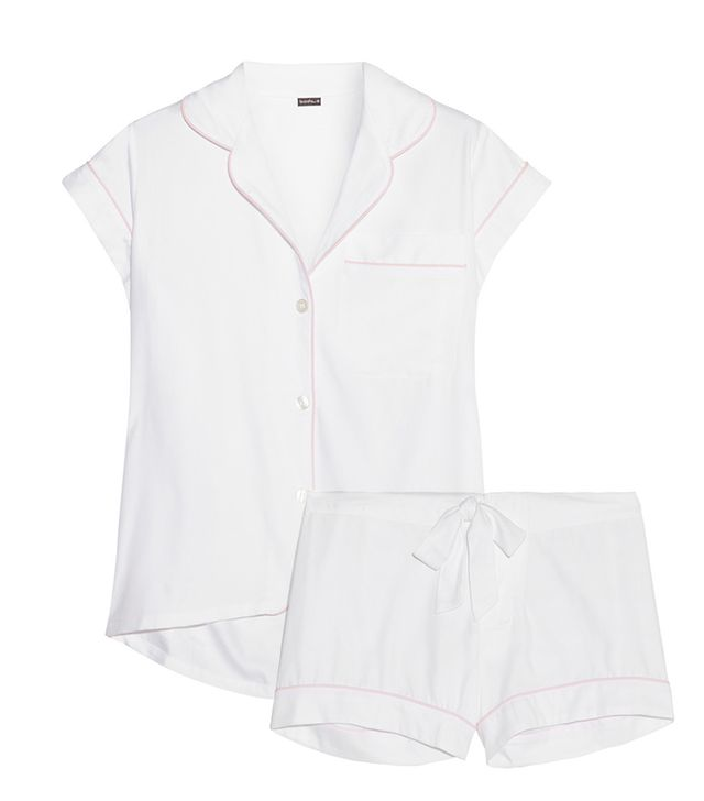 For The Bride: Bodas Cotton-Twill Pajama Top ($100) and Shorts ($65) in White  This breezy button-up top and chic boxer shorts are sure to keep you cool if the night starts to heat up!